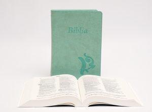 Biblia – középméretű, varrott kiállítású, olívazöld