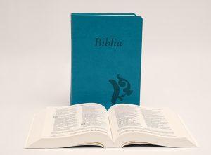 Biblia – középméretű, varrott kiállítású, türkiz