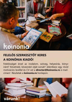 A Koinónia Kiadó felelős szerkesztőt keres